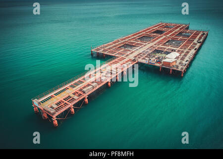 Aerial Drone View of sea and Farm on Cultivation of Seashells, Bulgaria. - Stock Photo