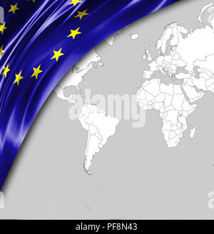 Flag of European Union with a place for your text, in the background a world map. - Stock Photo