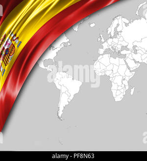 Flag of Spain with a place for your text, in the background a world map. - Stock Photo