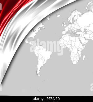 Flag of Indonesia with a place for your text, in the background a world map. - Stock Photo