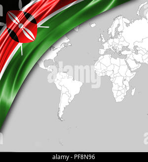 Flag of Kenya with a place for your text, in the background a world map. - Stock Photo