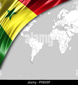 Flag of Senegal with a place for your text, in the background a world map. - Stock Photo