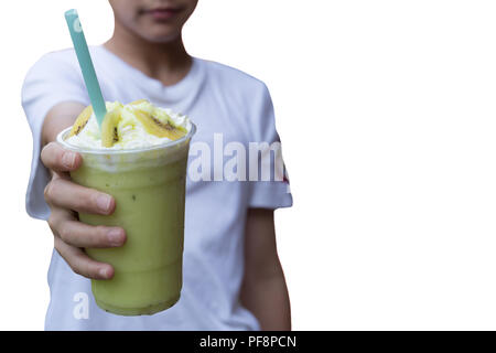 Young boy hand holding fresh smoothie drink solated  - Stock Photo