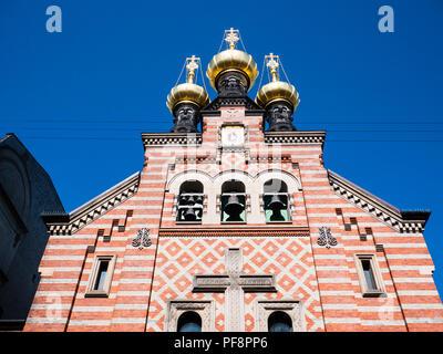 The Russian Orthodox St. Alexander Nevsky Church, Copenhagen, Zealand, Denmark, Europe. - Stock Photo