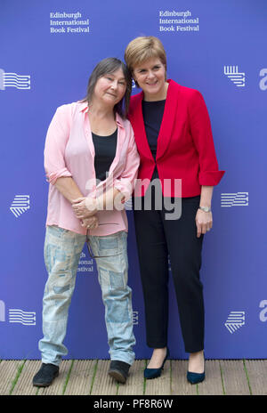 First Minister Nicola Sturgeon (right) with author Ali Smith during a photocall at the Edinburgh International Book Festival in Charlotte Square, Edinburgh. - Stock Photo