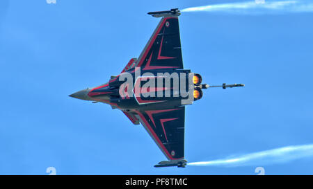 The Dassault Rafale (French pronunciation: [ʁafal], literally meaning 'gust of wind'  and 'burst of fire' displaying at RAF Cosford air display 2018 - Stock Photo