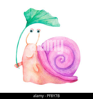 Watercolor hand drawn illustration. Cute character smiling colorful snail isolated painting on white background. For kids fashion, funny cartoon style - Stock Photo
