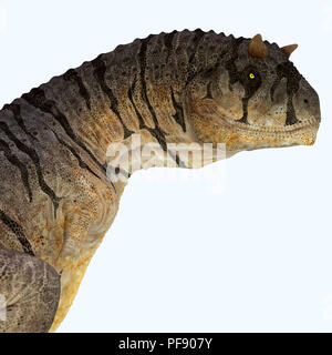 Carnotaurus sastrei Dinosaur  - Carnotaurus was a carnivorous theropod dinosaur that lived in Patagonia, Argentina during the Cretaceous Period. - Stock Photo