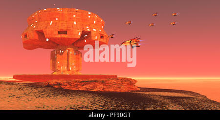 Spaceport on Mars - Mar's colonist's build a spaceport near a vast ice field at the north pole of this neighboring planet. - Stock Photo