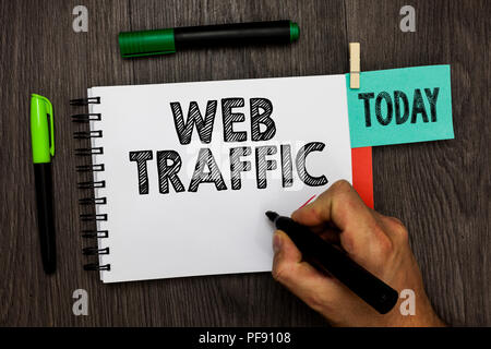 Conceptual hand writing showing Web Traffic. Business photo showcasing Amount of data sent and received by visitors to a website Man holding marker no - Stock Photo