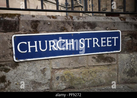 Church street road name sign in the busy market town of Warwick, Warwickshire - Stock Photo