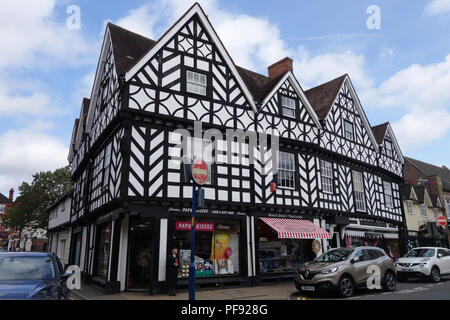 The busy market town Centre of Warwick, Warwickshire - Stock Photo