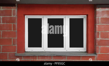 window with blank Windows on a brick wall.abstract background - Stock Photo