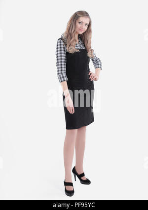 full-length portrait of a young employee .isolated on white - Stock Photo