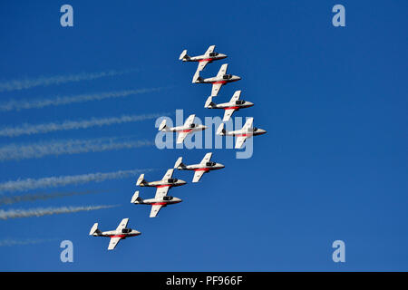 The Canadian Forces 431 Air Demonstration squadron flying in formation at an air show over the Nanaimo harbour on Vancouver Island British Columbia Ca - Stock Photo