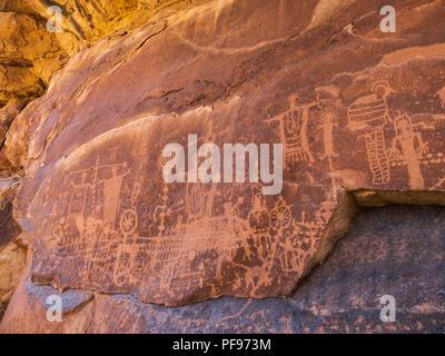 Fremont Indian petroglyphs, Flat Canyon, upper Desolation Canyon north of Green River, Utah. - Stock Photo