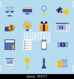 business concept set money devices puzzle report - Stock Photo