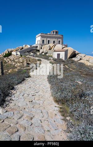 Footpath to the old lighthouse of Capo Testa, Santa Teresa di Gallura, Sardinia, Italy - Stock Photo