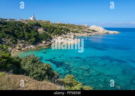 Lighthouse of Capo Testa, Santa Teresa di Gallura, Sardinia, Italy - Stock Photo
