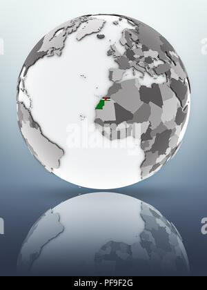 Western Sahara with flag on globe reflecting on surface. 3D illustration. - Stock Photo
