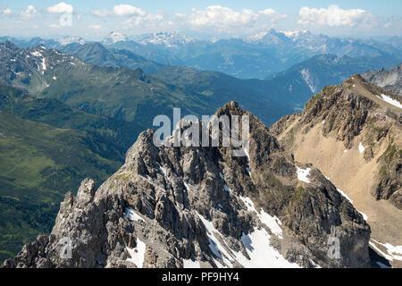 Austrian Alps. View from Valluga mountain in St Anton am Arlberg, in summer. - Stock Photo