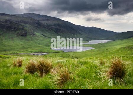 Loch an Eilein Lochan Ellen and Loch Airdeglais with Ben Creach peak in Glen More Isle of Mull Scotland UK - Stock Photo