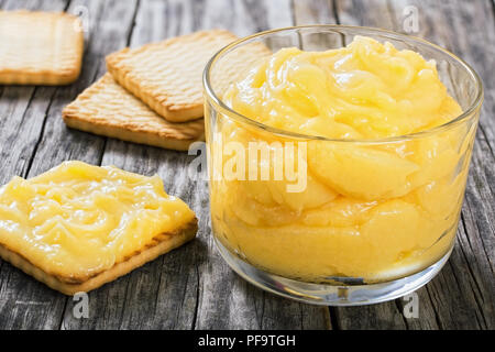 lemon curd in glass cup. blueberry and mint , authentic recipe, close-up - Stock Photo