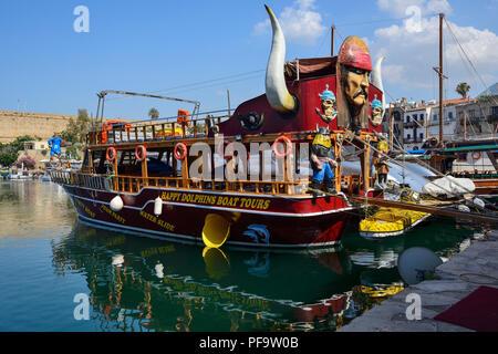 Tourist boats moored in Kyrenia harbour, Kyrenia (Girne), Turkish Republic of Northern Cyprus - Stock Photo
