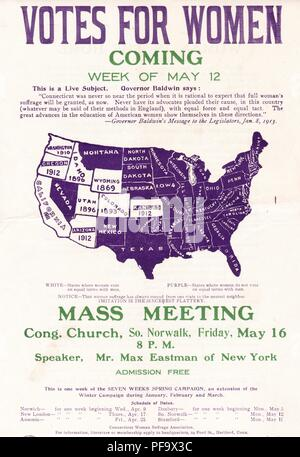 Suffrage meetings poster, with a women's suffrage map of the United States, advertising the appearance of radical activist Max Eastman, at a suffrage meeting in Norwalk, Connecticut, printed in the official colors of the Connecticut Woman Suffrage Association, purple, green, and white, and dated to 1913. () - Stock Photo
