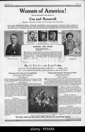 Presidential campaign advertisement for the Democratic team of James M Cox and Franklin D Roosevelt, with black and white portrait photographs of Governor Cox, James M Cox Jr, Mrs Helen Cox Mahoney, John William Cox, Mrs James M Cox (Margaretta Parker Blair) holding daughter Anne Cox, and Franklin and Eleanor Roosevelt surrounded by their large family, with supporting text intended to appeal to the newly enfranchised female voter, published by the Democratic National Committee for the American market, October, 1920. () - Stock Photo