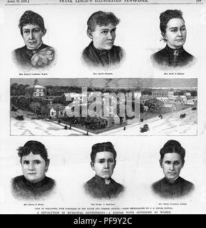 Black and white print depicting a panoramic view of Oskaloosa, Kansas, surrounded by portrait sketches of six women who served as the town's Common Council members, including Mrs Mary D Lowman (Mayor) Mrs Carrie Johnson, Mrs Sadie E Balsley, Mrs Hanna P Morse, Mrs Emma K Hamilton, and Mrs Mittie Josephine Golden, illustrated by CG Kruse and published in Frank Leslie's Illustrated Newspaper for the American market, 1888. () - Stock Photo