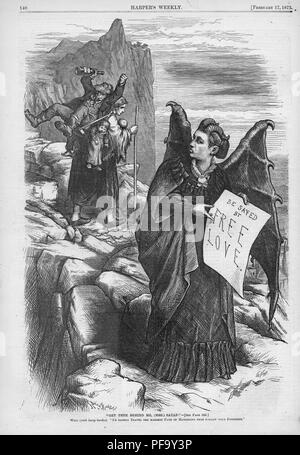 Black and white print depicting suffragist Victoria Woodhull, the first female candidate for President of the United States, as a winged 'Mrs Satan, ' standing in a rocky setting, holding a scroll proclaiming 'be saved by Free Love, ' with a poor woman looking back warily as she heads up the path while carrying two small children and an alcoholic husband, captioned ' Get thee behind me Mrs Satan, I'd rather travel the hardest path of matrimony than follow your footsteps, ' illustrated by Thomas Nast, and published in Harper's Weekly for the American market, 1872. () - Stock Photo