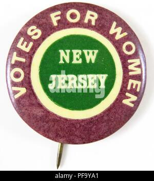 Pinback button with text reading Votes for Women New Jersey, advocating for women's suffrage, 1910. () - Stock Photo
