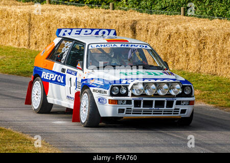 1993 Lancia Delta HF Integrale Group A rally car with driver John Saunders at the 2018 Goodwood Festioval of Speed, Sussex, UK. - Stock Photo