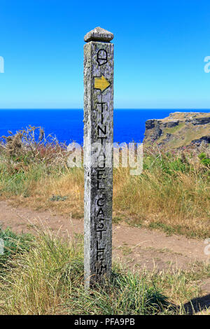 Wooden long distance footpath marker post on the South West Coast Path on Glebe Cliff pointing to Tintagel Castle, Tintagel, Cornwall, England, UK. - Stock Photo
