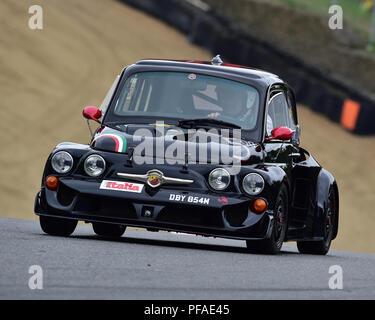 Carlo Caccaviello, FIAT 500, Historic Abarth Demonstration, Special Italian Car demo, Festival Italia, Brands Hatch, Kent, England, August 19th, 2018. - Stock Photo