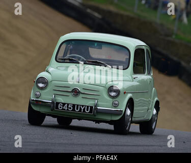 FIAT Abarth 600, Historic Abarth Demonstration, Special Italian Car demo, Festival Italia, Brands Hatch, Kent, England, August 19th, 2018. - Stock Photo
