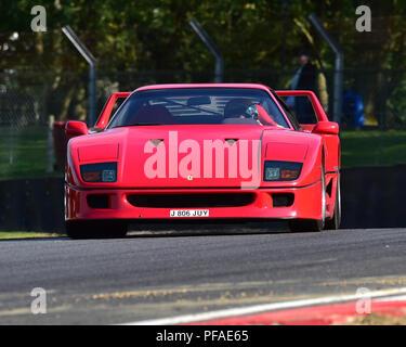 Ferrari F40, Historic Abarth Demonstration, Special Italian Car demo, Festival Italia, Brands Hatch, Kent, England, August 19th, 2018. - Stock Photo