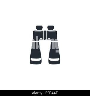 binocular silhouette icon. Camping and hiking equipment symbol. Stock vector isolated on white background - Stock Photo