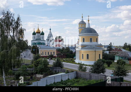 MOSCOW REGION, RUSSIA - AUGUST 20, 2018: A view of the Dormition Cathedral, a hipped-roof belfry of the Church of The Theotokos of Tikhvin, the Nikola Gostiny Church, and the Church of the Exaltation of the Holy Cross from a window of Suranov Soap Trade, a museum shop in the city of Kolomna, Moscow Region, based on an actual shop opened by merchant Grigory Suranov in the 1890s to sell products of a local soap factory. Stanislav Krasilnikov/TASS - Stock Photo