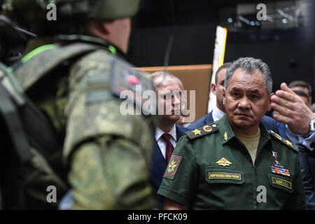 Moscow, Russia. 21st Aug, 2018. Russian Defense Minister Sergei Shoigu visits the Army-2018 International Military Technical Forum held in Moscow region, Russia, on Aug. 21, 2018. Credit: Evgeny Sinitsyn/Xinhua/Alamy Live News - Stock Photo