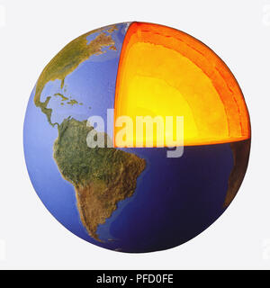 Globe with removed section illustrating Earth's mantle lit by a torch. - Stock Photo