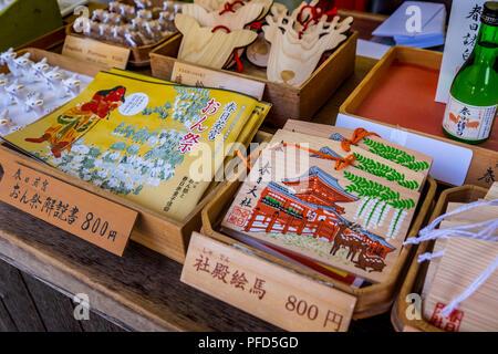 Ema (wish boards) in Meoto-Daikoku-sha at Kasuga Taisha, Nara, Kansai, Japan - Stock Photo