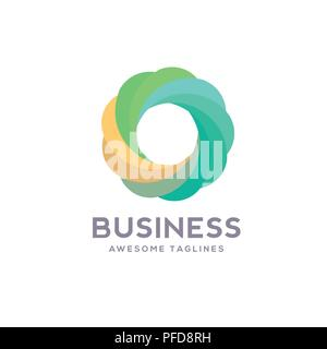circle logo various colors Vector , best Abstract flow logo template. Round shape and infinity loop symbol, technology icon, geometric logo - Stock Photo