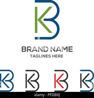 KB letter logo design vector illustration template, B letter logo vector, letter K and B logo vector, creative Letter KB letter logo - Stock Photo
