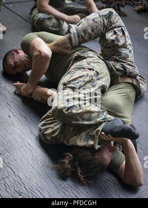 U.S. Marine Cpl. Sadie Wombacker, a bulk fuel specialist, fights through an arm-bar from Petty Officer 1st Class Nicholas Perez, a hospitalman with Combat Logistics Battalion 13, 13th Marine Expeditionary Unit (MEU), during a Marine Corps Martial Arts Program grappling match while at sea aboard the Whidbey Island-class dock landing ship USS Rushmore (LSD 47), June 3, 2018. The Essex Amphibious Ready Group (ARG) and 13th MEU are conducting Composite Training Unit Exercise (COMPTUEX), the final exercise before the units' upcoming deployment. This exercise validates the ARG/MEU team's ability to  - Stock Photo