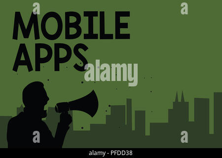 Conceptual hand writing showing Mobile Apps. Business photo showcasing small programs are made to work on phones like Android or ios Man holding megap - Stock Photo