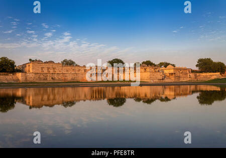 Ahmedabad,Gujarat,India, December 08,2014  A View Of Ancient Mosque And Tomb Complex Across Water In Sarkhej Roza.. - Stock Photo