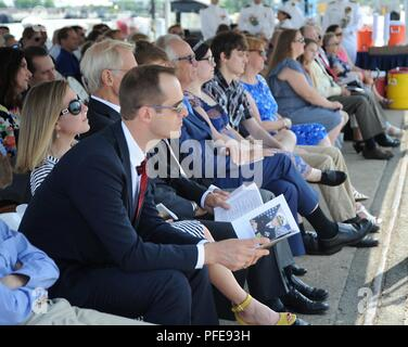 Guests attend the change of command ceremony for USS Boise (SSN 764) at Naval Station Norfolk on 8 June. USS Boise (SSN-764), a Los Angeles-class nuclear-powered fast attack submarine, was the second ship of the United States Navy to be named for Boise, Idaho. - Stock Photo