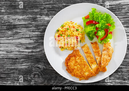 Crispy Southern Fried Pork Chops cut in strips with